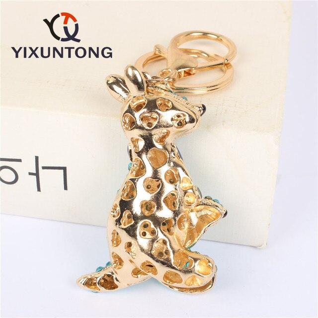 جميل الكنغر الفئران مفتاح سلسلة كيرينغ حجر الراين كريستال قلادة حلية لحقيبة يد محفظة حقيبة مفتاح هدية