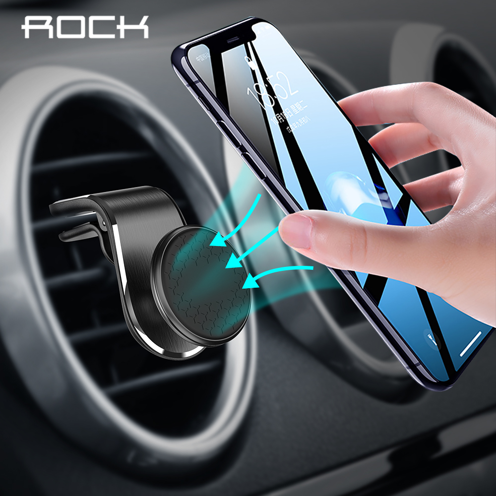 Rock Update Magnetic Car Phone Holder For IPhone XS MAX X 8 7 6 Plus Xiaomi Samsung 360 Degree Air Vent Mount Dashboard GPS