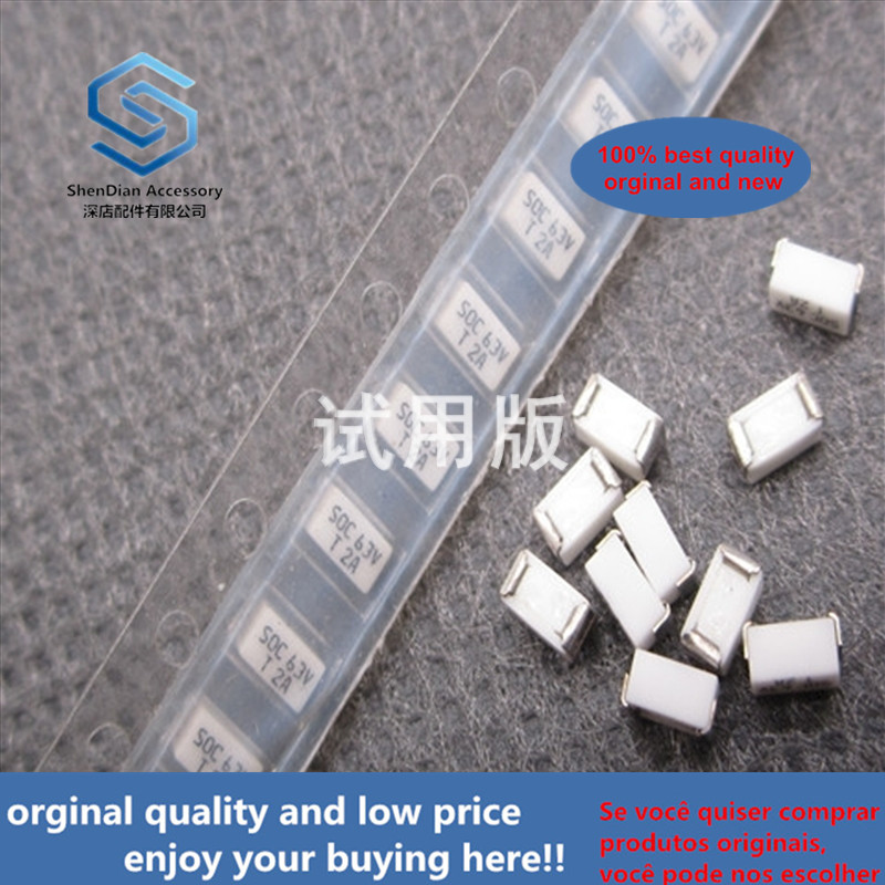 20ppcs 100% Orginal New MMCT2AR08B4 SOC 63V T2A 1206 3216 Slow-break Type Chip Disposable Fuse