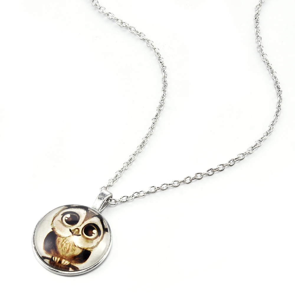 New Cute Owl pattern Round Metal Pendant Long Chain Choker Necklace Women Girl Sweater Necklaces Jewelry