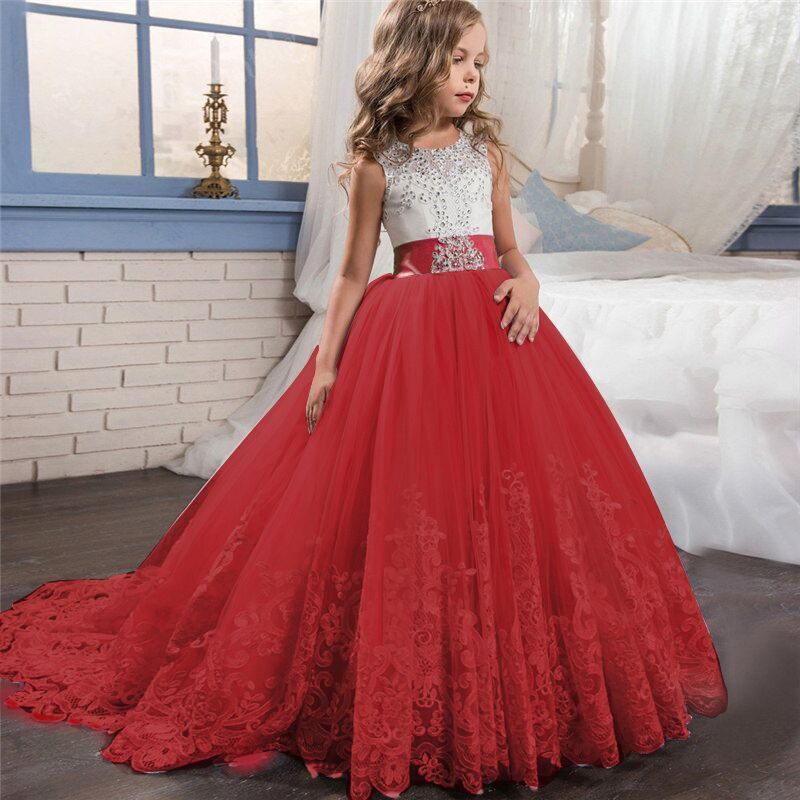 Lace Elegant Flower Girl Dress Tulle Beading Appliqued Pageant Dresses For Girls First Communion Dresses New Year Train Dresses 2