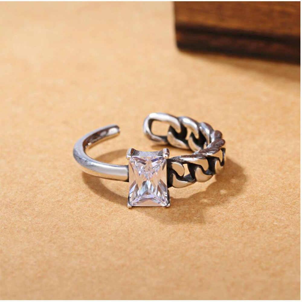 בציר סדיר מעוות חבל שרשרת תאילנדי כסף טבעת עם שחור קריסטל זירקון 925 כסף סטרלינג תכשיטי פתוח S-R125