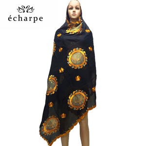 Image 1 - African women in head scarf embroidery cotton shawl turban Muslim new turban