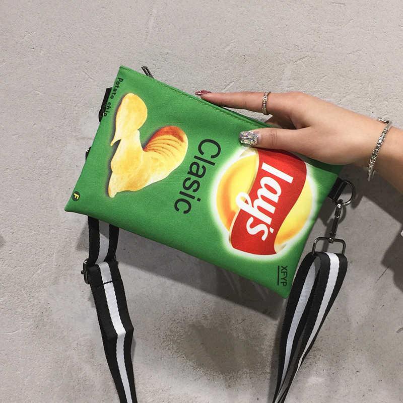 Bolso bandolera divertido con patatas fritas, bolso de lona para mujer, Mini estampado de dibujos animados, envoltura para niña, bolso de mano para mujer, bolso de mano bonito