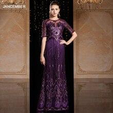 J9069 jancember robes de soirée longues 2020 col rond demi manches sequin motif violet grande taille robe formelle abiti da cerimonia