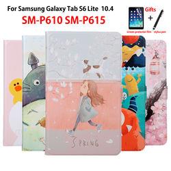 Sprawa dla Samsung Galaxy Tab S6 Lite 10.4 ''2020 P615 SM-P610 SM-P615 pokrywa Funda Tablet Slim PU skóra malowane stojak Capa + prezent