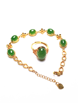 14K Gold Green Jade Bracelet and Ring