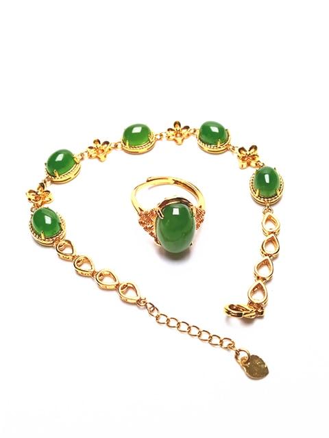 14K Gold Green Jade Bracelet and Ring