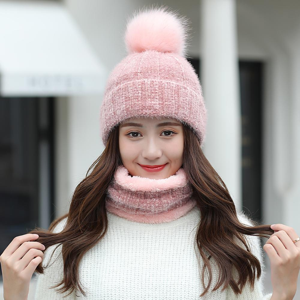 2020 Korean Fashion High Quality Wool Knitted Two-piece Set Women's Winter Velvet Thick Hat Protection Ear Large Wool Ball Cap
