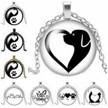 2019 New Creative Necklace Cartoon Yin and Yang Dog Claw Gift Glass Convex Anime Dog Pendant Necklace Fashion Jewelry 2019 new creative cartoon yin and yang black and white cat necklace gift glass convex round pendant necklace fashion jewelry