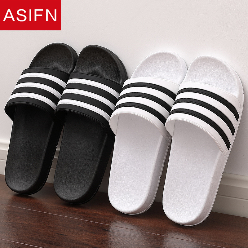ASIFN Slippers For Men Flip Flops Male Couple Slides Soft Black And White Stripes EVA Casual Summer Shoes Zapatos Hombre