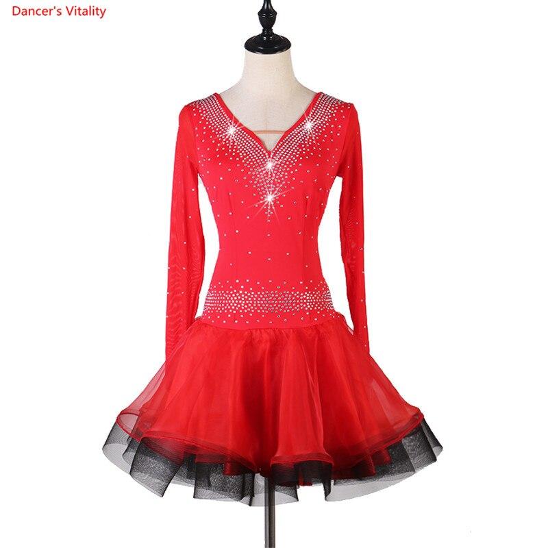 Latin Dance Dress Women/Ladies Sexy Red  Purple Performance Skirt Profession Latin Dance Competition Dress Rumba/Salsa Dress