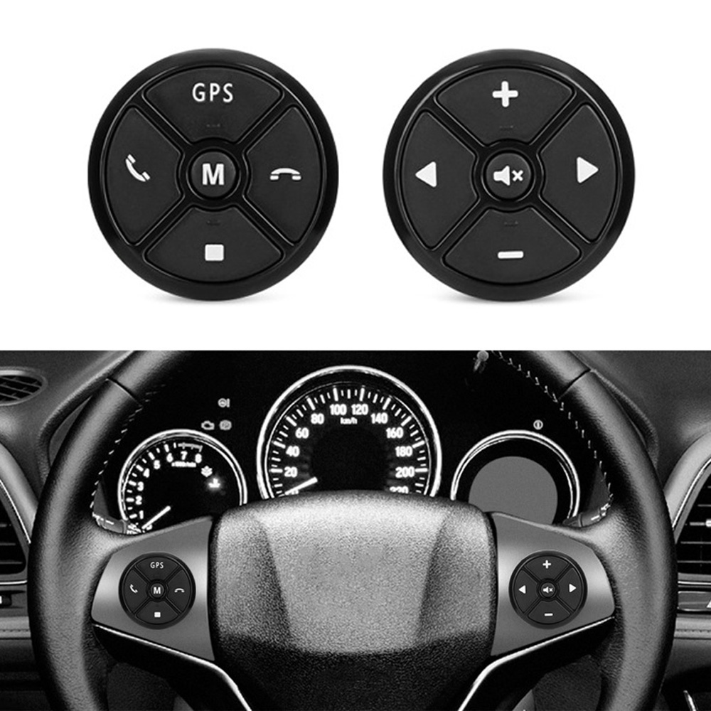 Wireless Steering Wheel Button Car Remote Control W/ Night Light Black Round
