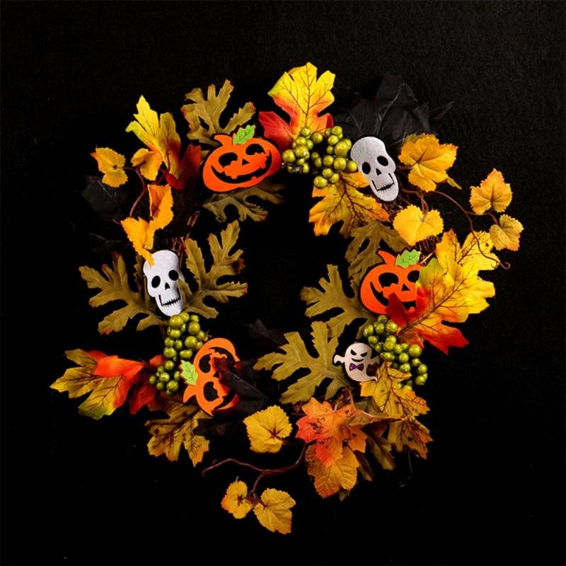 Artificiale Halloween Corona Anteriore Porta Hanging Ghirlanda di Festa Decorazioni per La Casa (con Alimentato a Batteria Stringa di Luce a Led) - 5