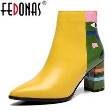 FEDONAS 2020 moda marka kadın yarım çizmeler baskı yüksek topuklu bayan ayakkabıları kadın parti dans pompaları temel deri çizmeler