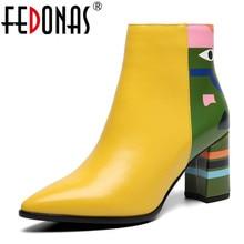 FEDONAS 2020 אופנה מותג נשים קרסול מגפי הדפסת עקבים גבוהים גבירותיי נעלי אישה מסיבת ריקודי משאבות בסיסי עור מגפיים