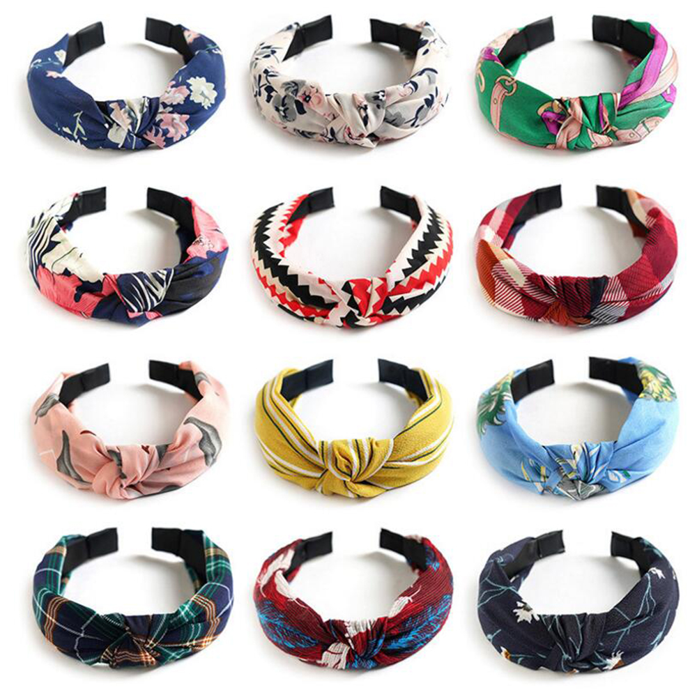 Printed Scrunchies Turban Top Knotted Elastic Hairband Hair Accessories For Girls No Slip Stay Head Band Hair Band For Women 048