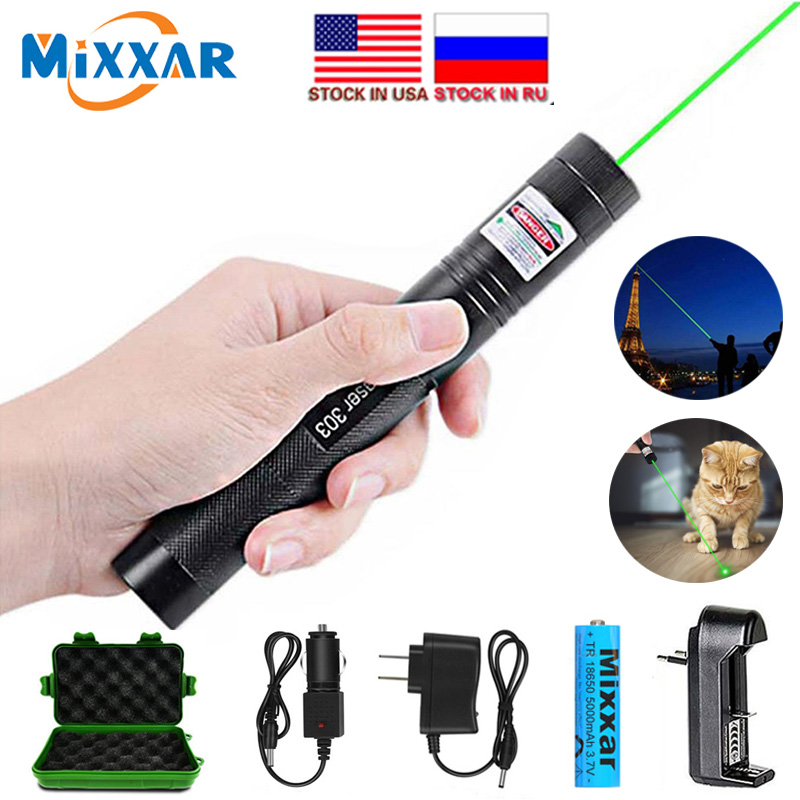 Dropshipping 303 Green Laser Military 532nm 5mw For Hunting Verde Pen Laser Pointer Burning Laser Match With 18650 Battery