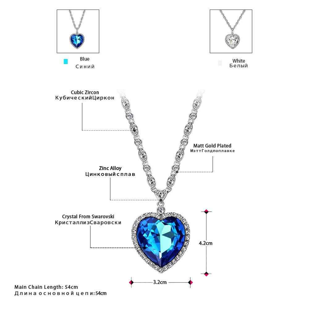 Neoglory Trái Tim Đại Dương Xanh Dương Cổ Tim Tấn Công Titan Vòng Cổ Cho Valentine Tôn Tạo Với Tinh Thể Từ Swarovski