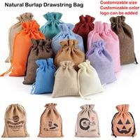 Bolsas de arpillera Natural con cordón de yute, embalaje de joyería de varios tamaños, para boda, bricolaje, con logotipo personalizable, 50 Uds.