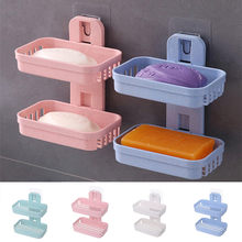 Bathroom Shower Soap Box Dish Storage Plate Tray Holder Case Soap Holder Double(China)