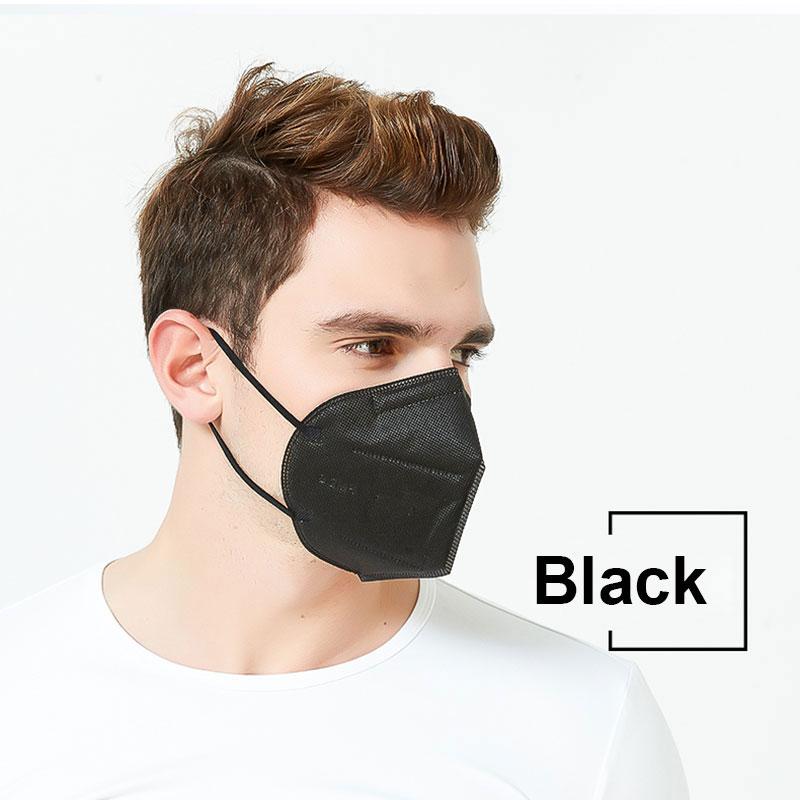 Livraison 10 jours! 5 couches KN95 noir masque sécurité poussière respirateur adulte FFP2 blanc masque protecteur visage bouche Mascarillas FFP3 4