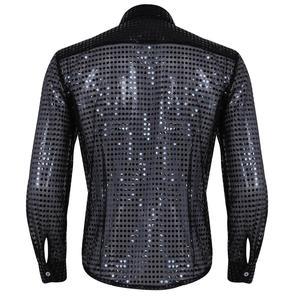 Image 2 - Hommes hombres ver a través de lentejuelas camisa latina de manga larga de salón de baile Tango Rumba Top camisas para hombres Tops Performance Dance Costume