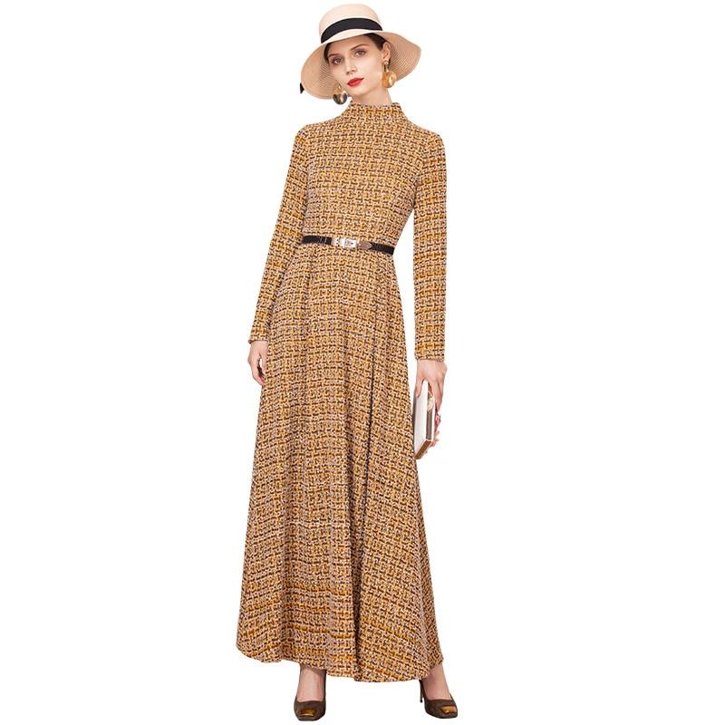 Luxury Autumn Winter Cotton Wool Long Dress British Style Plaid New Year Party Night Dress Evening Maxi Clothing DZ2234