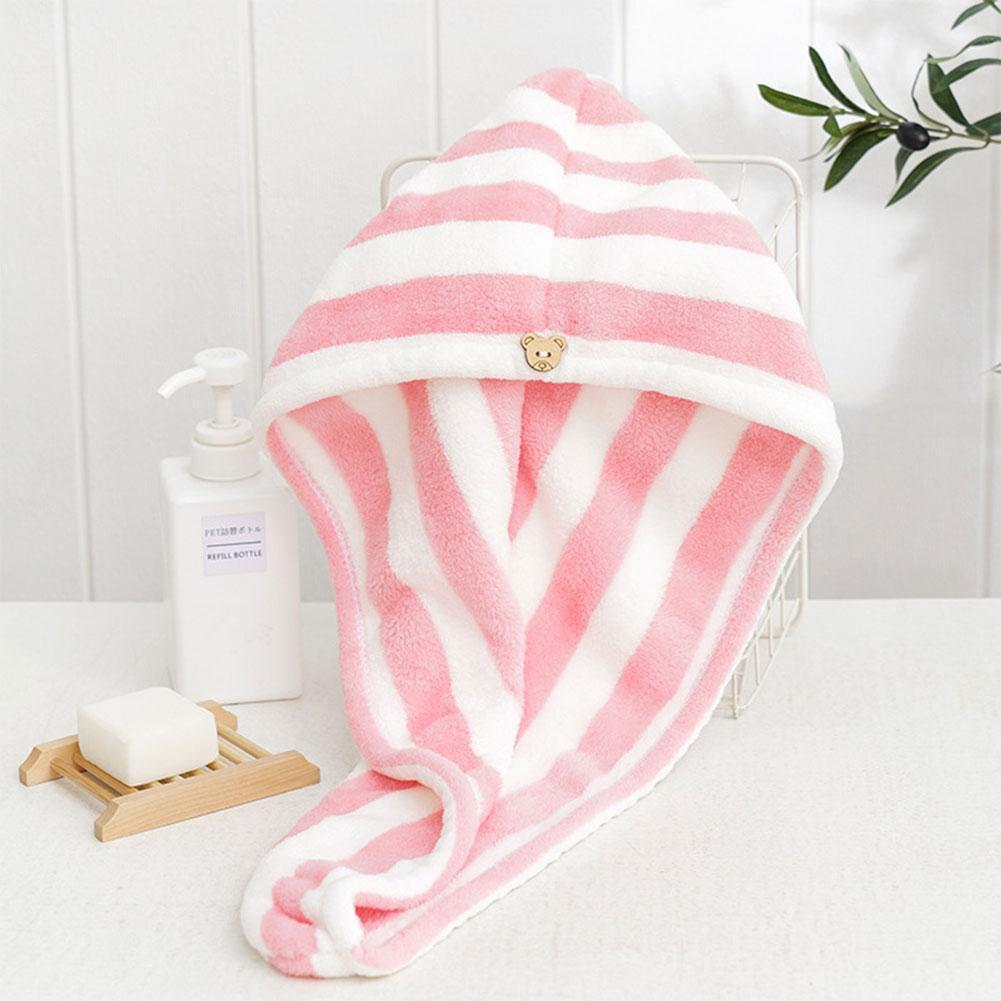 1PC Microfiber Hair Towel Quick Drying Hair Wrap Towel Super Absorbent Coral Velvet Towel with Button Bathroom accessories