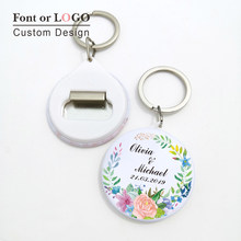 50pcs Personalized custom-made name date photo Keychain Bottle Opener Anniversary Company activities Wedding Favors and Gifts(China)