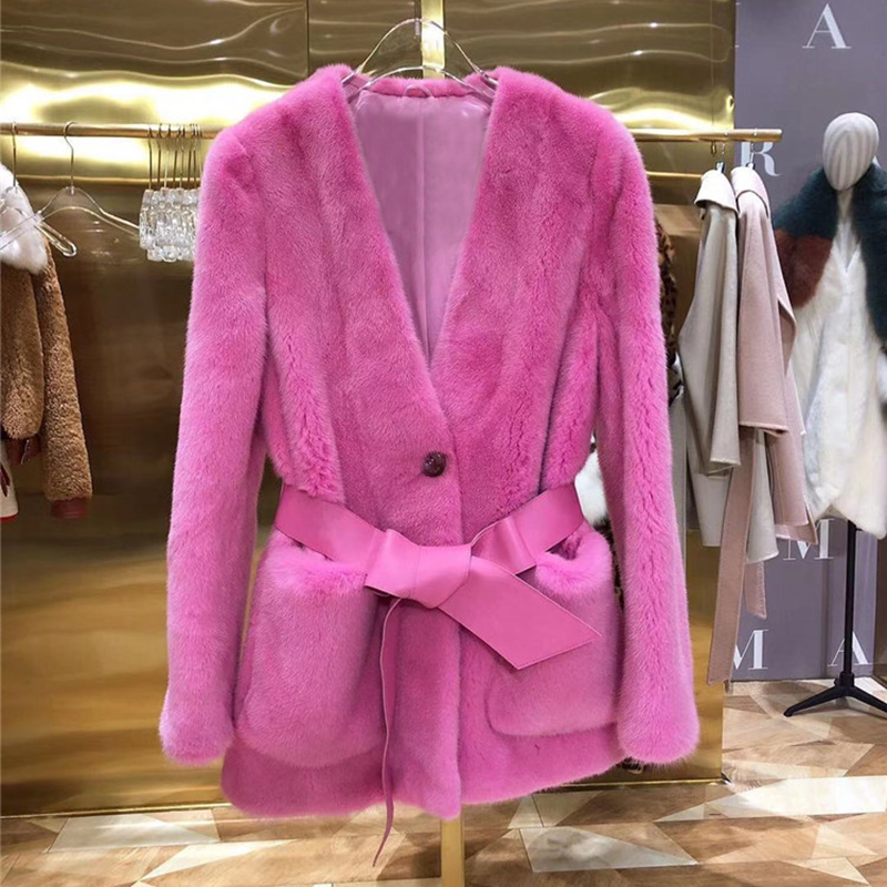Mink Fur Women Coats 2019 Winter Fashion Natural Real Mink Fur  Jacket Female Outerwear