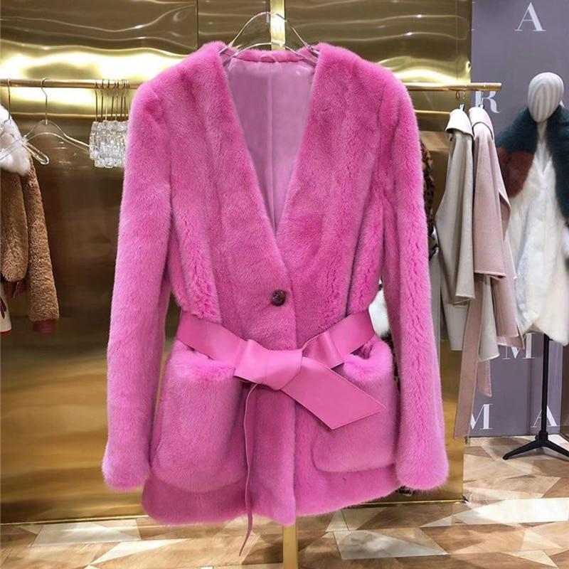 Mink Fur Women Coats 2019 Winter Fashion Natural Real Mink Fur  Jacket Female Outerwear