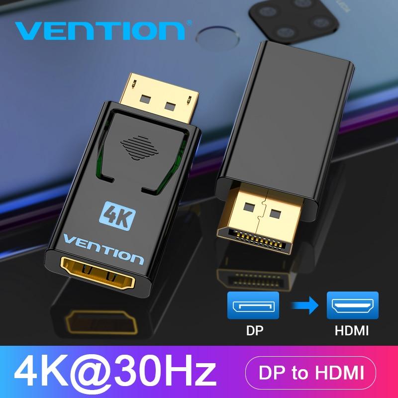Vention dp para hdmi adaptador 4k dp macho para hdmi fêmea vídeo conversor de áudio para computador portátil projetor porta de exibição para hdmi adaptador      - AliExpress