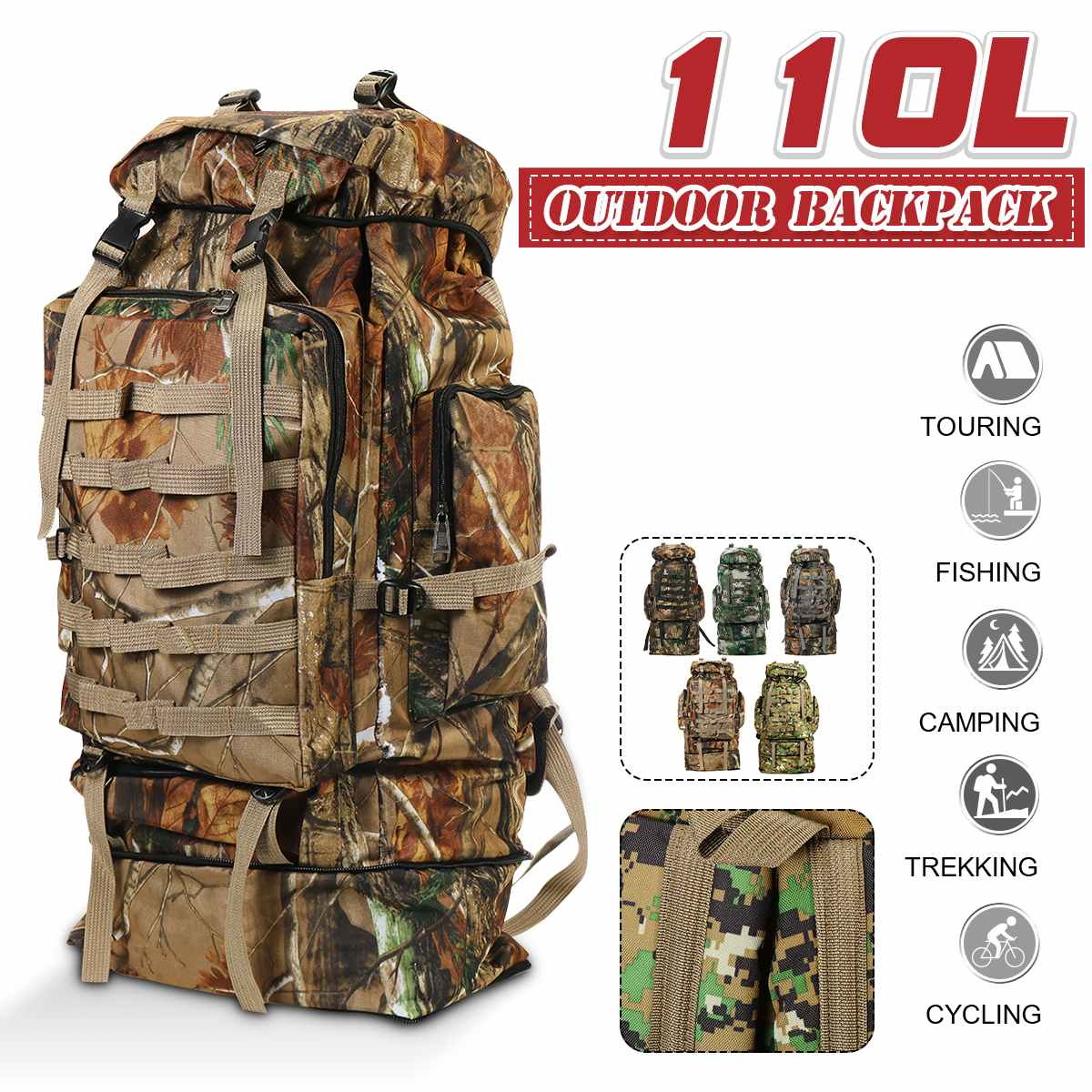 110L Camouflage Military Tactical Backpack Bag Outdoor Travel Hiking Climbing Waterproof Outdoor Camping Hiking Rucksack Bag