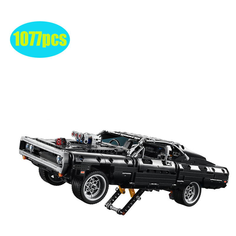 2020 Lepinblocks Technic Car Series Supercar Dom's Dodged Charger 42111 Fasts  Furious ModelBuilding Blocks Bricks Toy