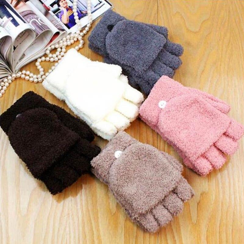Xmas Gifts Hot Sale Fashion Gloves Women Winter Keep Warm Sweet Knitted Convertible Flip Top Fingerless Mittens
