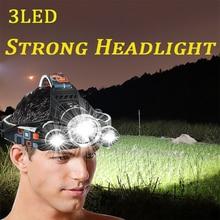 LED Headlight USB Rechargeable EU US Waterproof Zoom 3LED Camping Fishing Light T6 High Power Glare Long Shot