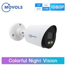 Movols 2MP Colorful Night Vision Security Camera CCTV AHD Outdoor Video Surveillance Camera Analog Waterproof Sony Sensor Camera