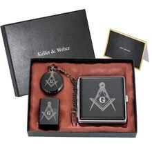 Masonic Pocket Watch Set Men's Masonic Clock Arabic Digital Dial Stainless Steel Cigarette Case Black Lighter Gift Box for Men