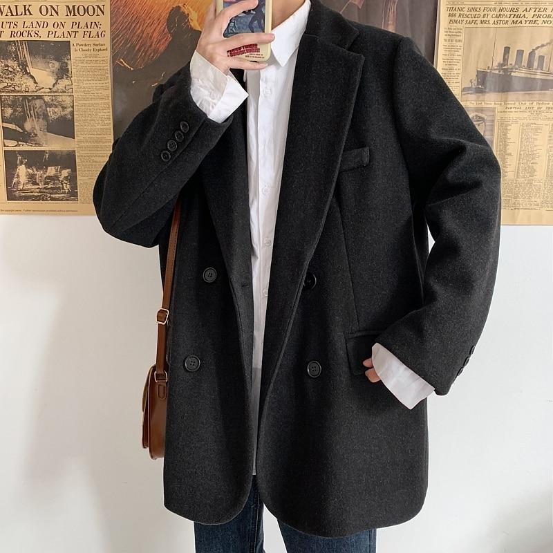 UUYUK Men Workwear 1 Button Skinny Lapel Solid Color Blazer Jacket Coat