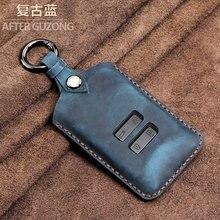 Couro genuíno caso chave do carro capa para renault koleos kadjar 2016 2017 qm5 4 botão cartão inteligente chave caso capa
