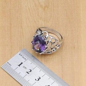Image 5 - Argent naturel 925 ensembles de bijoux violet zircon cubique pierre bijoux pour femmes boucles doreilles/pendentif/collier/anneaux ouverts/Bracelet