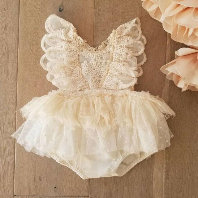 Księżniczka dziewczyna Tutu Romper sukienka noworodka dziewczynka kwiat koronki Romper body Tutu sukienka odzież 0-24M