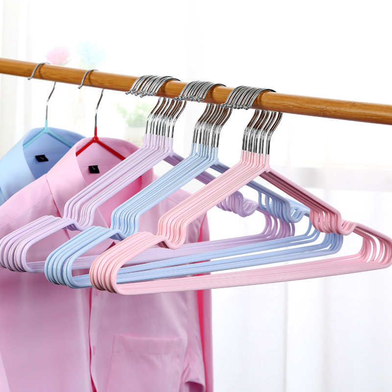1pcs Dip Plastic Non-Slip Hangers Metal Clothes Hangers Support Adult Children Drying Racks Household Seamless Hangers