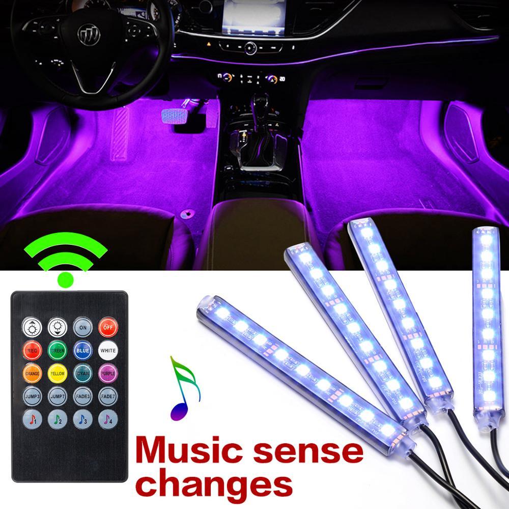 4pcs Car Interior Lighting RGB LED Neon Interior Light Lamp Strip Decorative Atmosphere Lights With Remote