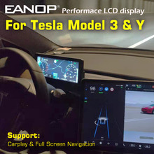 Eanop hud 10.25 digital touched toque digital desempenho lcd android 9.0 media player dashboard para tesla modelo 3 y suporte carplay 2/32gb