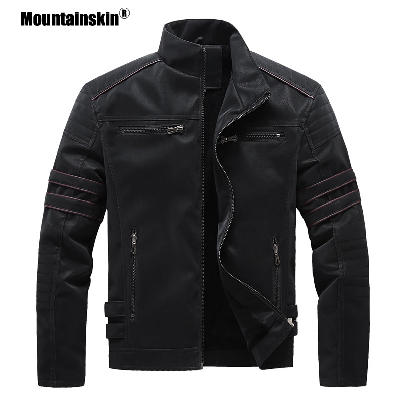 Mountainskin Autumn Winter Men's Leather Jackets Motorcycle PU Jacket Male Biker Leather Coats Mens Brand Clothing EU Size SA896