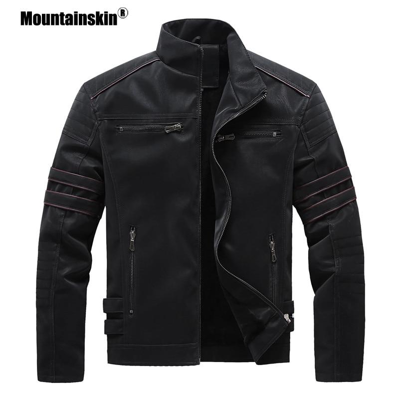 Mountainskin Autumn Winter Men's Leather Jackets Motorcycle PU Jacket Male Biker Leather Coats Mens Brand Clothing EU Size SA896