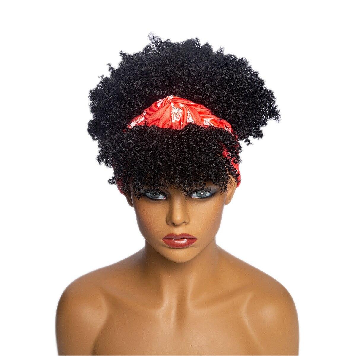 Afro kinky encaracolado peruca sintética cachecol envoltório