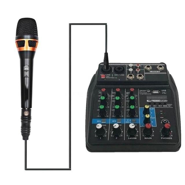 Beruf Mischen Konsole USB Port Angetrieben Mini Bluetooth 4 Kanal Bühne Leistung Live Action Audio Mixer